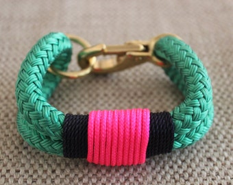 Customized Maine Rope Bracelet - Kelly Green Rope - Navy / Pink - Made to Order