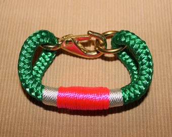 Customized Maine Rope Bracelet - Kelly Green Rope -White / Pink - Made to Order