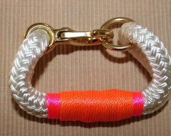 Customized Maine Rope Bracelet - White Rope - Pink / Orange - Made to Order