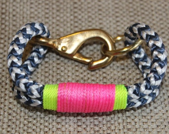 Customized Maine Rope Bracelet - Blue White Chevron Rope - Neon Yellow / Pink Accent - Made to Order