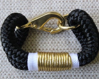 Customized Maine Rope Bracelet - Black Rope -White / Gold - Made to Order