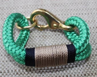 Customized Maine Rope Bracelet - Kelly Green Rope - Navy / Tan -Made to Order