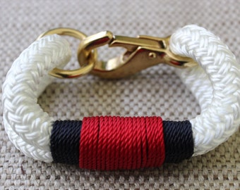 Customized Maine Rope Bracelet - White Rope - Navy / Red - Made to Order