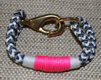 Customized Maine Rope Bracelet - Blue White Chevron Rope - White / Pink Accent - Made to Order