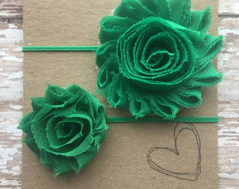 Green Shabby Flower Headband