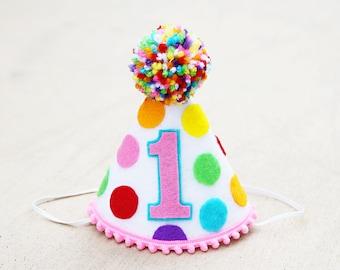 05137d74cb0 Girls 1st Birthday Small Rainbow Party Hat - Girls First Birthday Sprinkles  Polkadot Party Hat