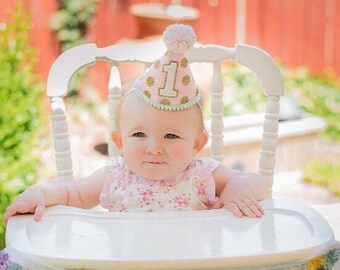Girl First Birthday Party Hat - Girl Dog 1st Birthday Hat- Pink, Mint and Gold