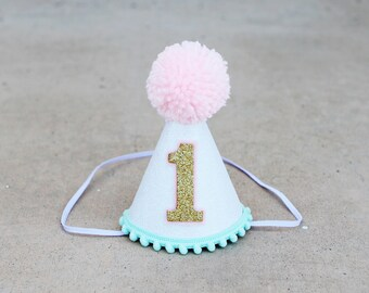 Girls First Birthday Mini Party Hat 1st