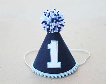 Boys 1st Birthday Navy And Blue Felt Small Party Hat