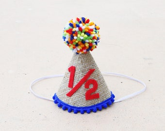 Boys 1 2 Birthday Burlap And Primary Colors Party Hat