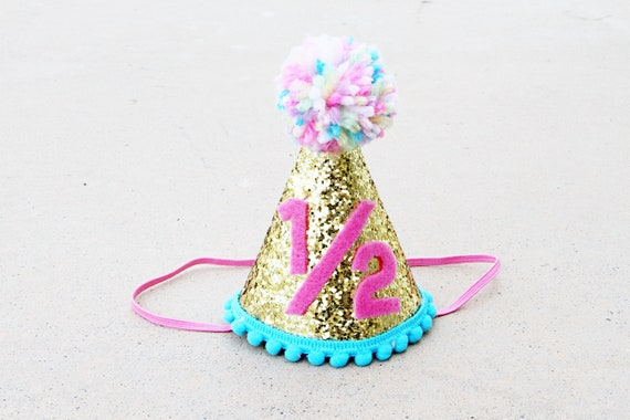 Girls 1 2 Birthday Mini Gold Glitter Party Hat Half