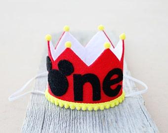 Boys 1st Birthday Small Mickey Crown - Boys First Birthday Mickey One Felt Crown