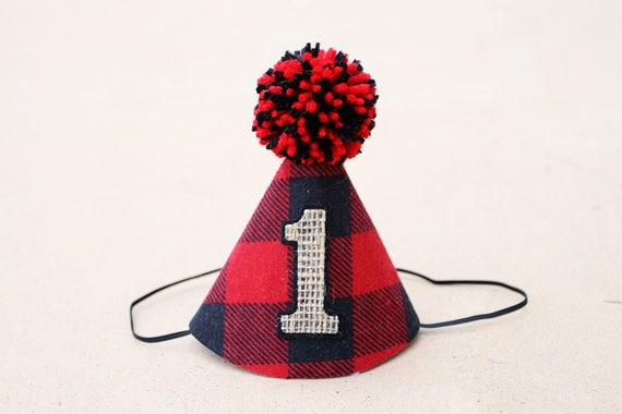 Boys 1st Birthday Wild One Lumberjack Party Hat