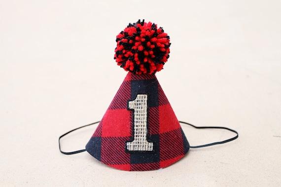 Boys 1st Birthday Wild One Lumberjack Party Hat