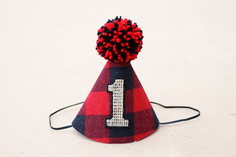 Boys 1st Birthday Wild One Lumberjack Party Hat First