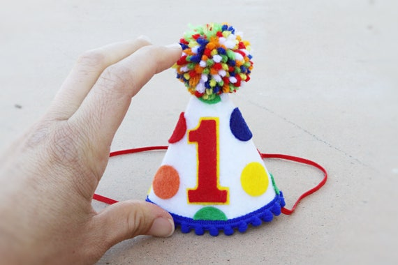 Boys 1st Birthday Mini Primary Polkadot Party Hat