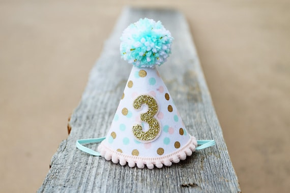 Girls Pink Mint And Gold Mini First Birthday Party Hat