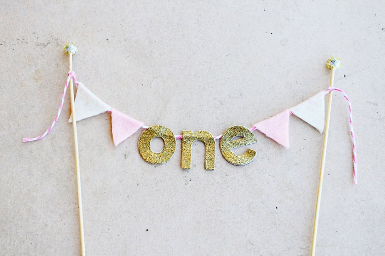 Girls 1st Birthday Pink And Gold Cake Bunting One Felt