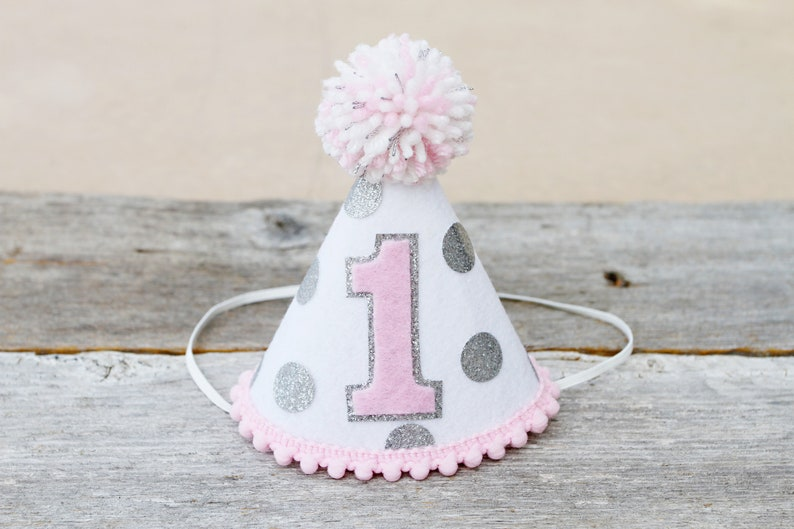 76731b0ae75 Girls 1st Birthday Pink and Silver Party Hat Girls First