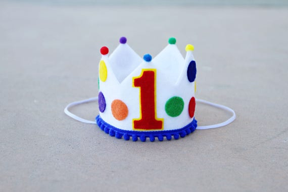 Boys 1st Birthday Primary Colors Crown