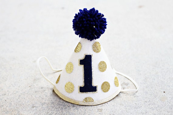 Boys 1st Birthday Small Gold And Navy Party Hat