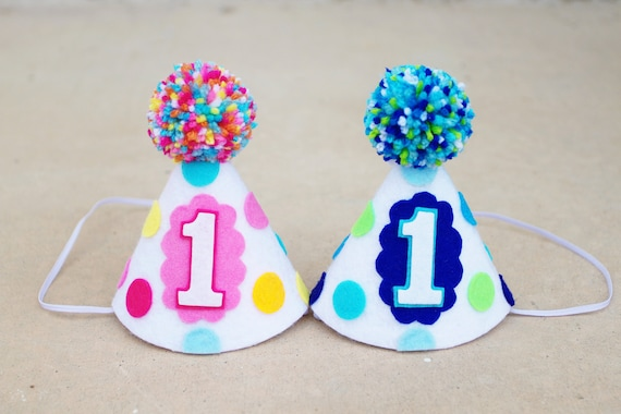 Boy Girl Twins 1st Birthday Party Hats