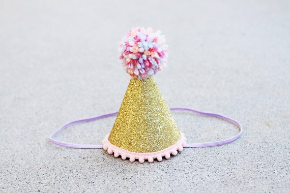 Girls Gold Sparkle Birthday Mini Party Hat