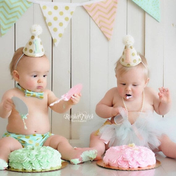 Madchen Junge Zwillinge 1 Geburtstag Gold Polkadot Kleine Etsy