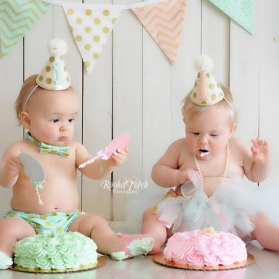 Girl Boy Twins 1st Birthday Gold Polkadot Small Party Hats