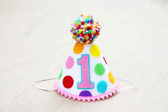 Girls 1st Birthday Small Rainbow Party Hat