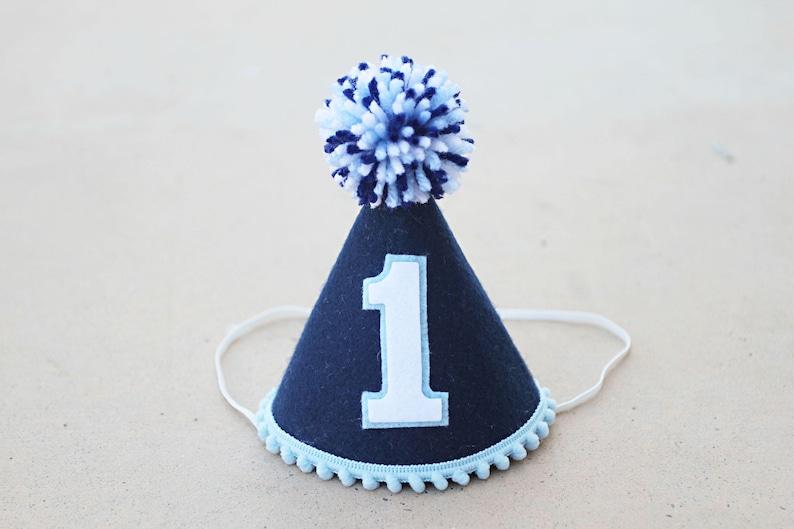 54eb16dba Boys 1st Birthday Hat - Navy and Blue Felt Small Party Hat - Boys First  Birthday Party Hat- Cake Smash