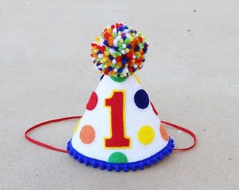 Boys 1st Birthday Hat- Boys Primary Polkadots Small Party Hat - Boys First Birthday Elmo Legos- Hungry Caterpillar