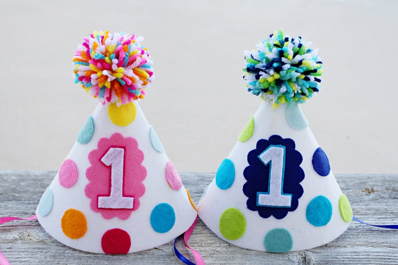 Boy Girl Twins 1st Birthday Party Hats First