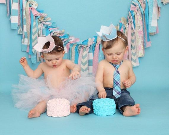 Junge Und Madchen Zwillinge Erster Geburtstag Krone 1 Etsy