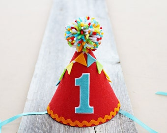 Boys 1st Birthday Carnival Party Hat - Boys First Birthday Circus Hat - Fiesta Party Hat