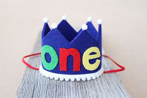 Boys 1st Birthday Primary Colors Small Crown First