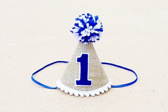 Boys 1st Birthday Mini Burlap And Blue Party Hat