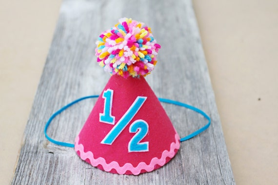 Girls Half Birthday Hot Pink Small Party Hat 1 2
