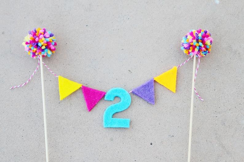 Girls 1st Birthday Cake Topper 2nd