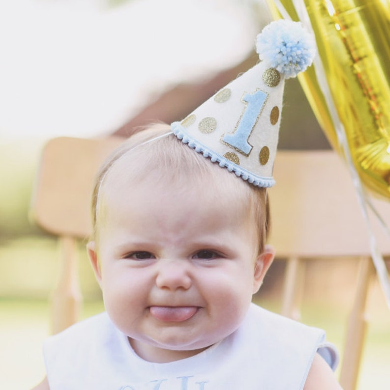 Boys First Birthday Hat 1st Light Blue And Gold