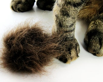 Fur Cat Toy, Kitty Fetch Toy, Flingin' Kitty Biscuit, Unique Cat Toy, Organic Catnip or Silvervine, Bison Buffalo Fur Cat Toy