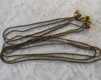 "Vintage gold plate 1mm serpentine necklace,15&1/2"", 3pcs-CHN19"