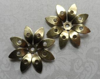 "Vintage gold plate brass dapped flowers,1&3/8th"" diameter, 2pcs-KC313"