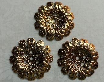 "Vintage gold ,silver,mix plate brass dapped round filigree,1&1/8th"" diameter,3pcs-FLG31"