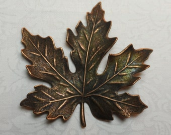 """Extra large Vintage copper or gold plate dapped and etched maple leaf,2&1/8th"""",1pc-KC170"""