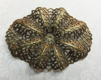 """Vintage silver(gold shown)plate brass stamped and dapped large filigree,2&3/4""""x2"""",1pc-FLG39S"""