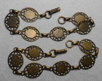 """8""""brt. or vintage gold(shown)plate brass oval blank bracelets,2pcs-BRC03"""