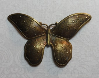 """Ex-large vintage gold or silver plate dapped butterflies,2&1/2"""",1pc-KC244"""
