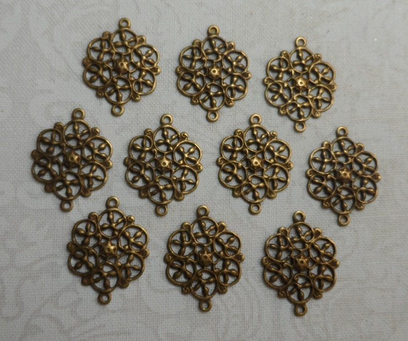 Vintage gold plate brass filigree connectors with 2 rings,916th,10pcs-FLG18
