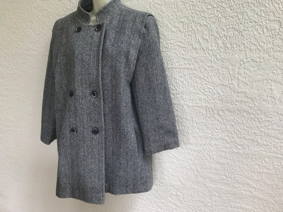 1990s  Herringbone Double Breasted  Overcoat Gray